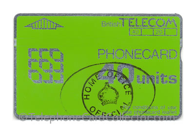 Home Office hand stamped 40 unit BT Phonecard for use in HM Prisons