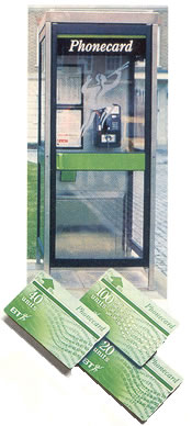 Phonecard kiosk with cardphone - beneath three Phonecards, 20, 40 and 100 unit cards